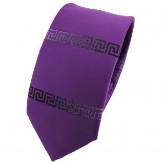 schmale Krawatte in violett anthrazit uni bordürenmuster - Krawatte Binder Tie