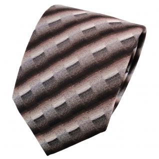 schöne Krawatte in dunkelbraun grau silber anthrazit gestreift - Krawatte Binder