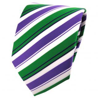 schöne TigerTie Krawatte in lila grün schwarz weiß gestreift - Binder Tie