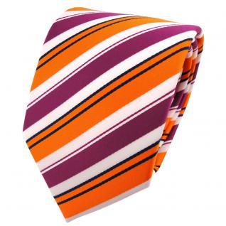 schöne TigerTie Krawatte in orange lila weiß schwarz gestreift - Binder Tie