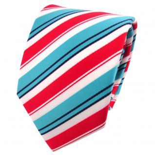 schöne TigerTie Krawatte in rot türkis schwarz weiß gestreift - Binder Tie