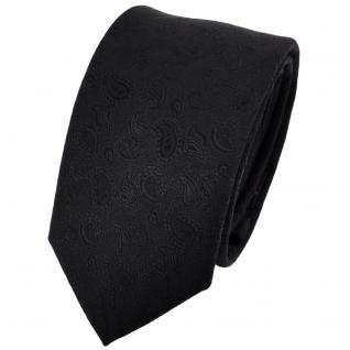 schmale TigerTie Designer Krawatte uni schwarz gemustert - Tie Binder