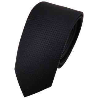 schmale TigerTie Designer Krawatte schwarz uni gepunktet - Binder Tie