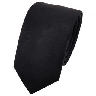 schmale TigerTie Designer Krawatte uni schwarz gemustert - Cravate Binder