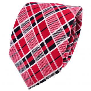 schöne TigerTie Krawatte in rot verkehrsrot schwarz silber grau kariert - Binder Tie