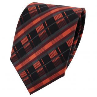 schöne TigerTie Krawatte in orange kupfer anthrazit schwarz gestreift - Binder