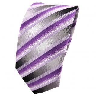 Schmale TigerTie Seidenkrawatte lila anthrazit silber gestreift - Krawatte Seide