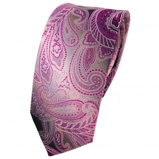 Schmale TigerTie Seidenkrawatte lila magenta anthrazit grau Paisley - Krawatte