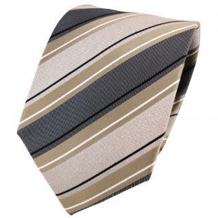 TigerTie Seidenkrawatte gold silber anthrazit schwarz gestreift - Krawatte Seide