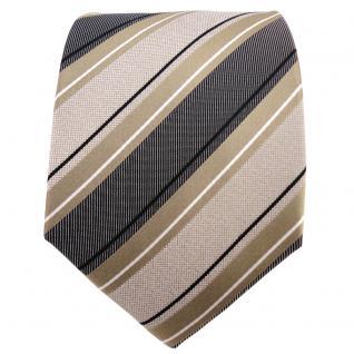 TigerTie Seidenkrawatte gold silber anthrazit schwarz gestreift - Krawatte Seide - Vorschau 2