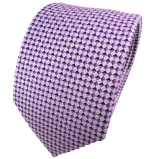 TigerTie Seidenkrawatte lila violett silber grau gemustert - Krawatte Seide Tie