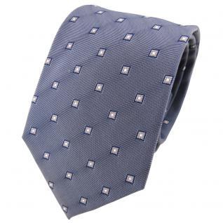 TigerTie Seidenkrawatte grau blaugrau silber gemustert - Krawatte Seide Tie