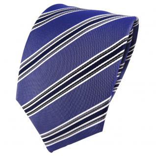 TigerTie Seidenkrawatte blau dunkelblau anthrazit silber gestreift - Krawatte