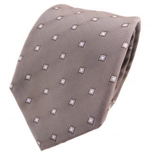 TigerTie Seidenkrawatte braun blassbraun grau silber gemustert - Krawatte Seide