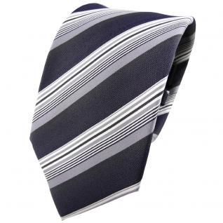 TigerTie Seidenkrawatte anthrazit silber grau gestreift - Krawatte Seide Tie