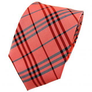 TigerTie Seidenkrawatte orange rotorange anthrazit kariert - Krawatte Seide