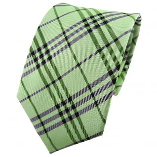TigerTie Seidenkrawatte grün hellgrün maigrün anthrazit kariert - Krawatte Seide