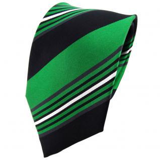 TigerTie Seidenkrawatte grün schwarz anthrazit silber gestreift - Krawatte Seide