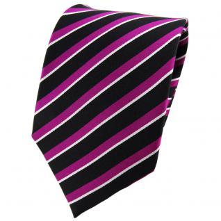 TigerTie Seidenkrawatte magenta schwarz silber gestreift - Krawatte Seide Binder