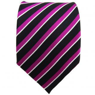 TigerTie Seidenkrawatte magenta schwarz silber gestreift - Krawatte Seide Binder - Vorschau 2