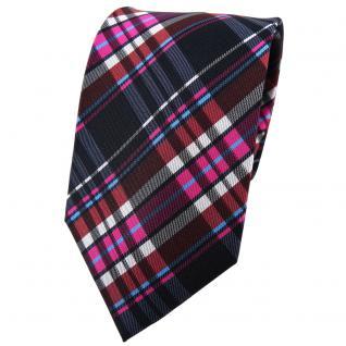 TigerTie Seidenkrawatte pink braun anthrazit schwarz silber kariert - Krawatte