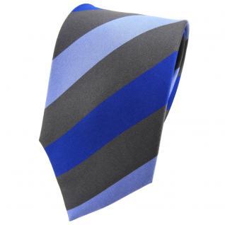 TigerTie Seidenkrawatte blau hellblau anthrazit gestreift - Krawatte Tie Seide - Vorschau 1