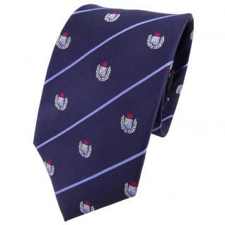 TigerTie Seidenkrawatte blau dunkelblau silber rot gestreift Wappen - Krawatte