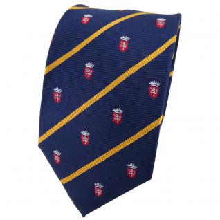 TigerTie Seidenkrawatte blau sonnengelb rot silber gestreift Wappen - Krawatte