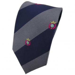 TigerTie Seidenkrawatte anthrazit grau dunkelblau gestreift Wappen - Krawatte