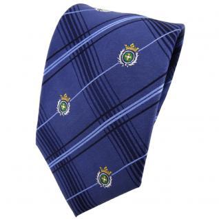 TigerTie Seidenkrawatte blau kariert Wappen in silber grün gold - Krawatte Seide
