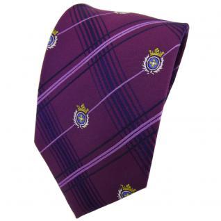 TigerTie Seidenkrawatte lila blau kariert Wappen in silber gold - Krawatte Seide
