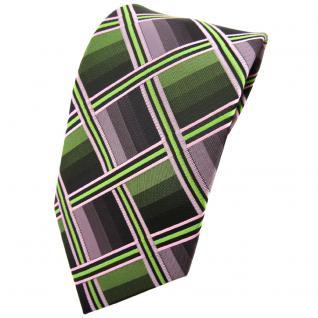 TigerTie Krawatte grün hellgrün rosa anthrazit grau kariert - Tie Binder