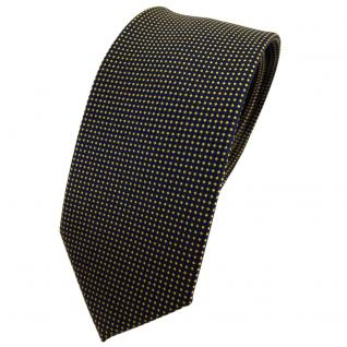 Schmale TigerTie Seidenkrawatte gelb gold blau gepunktet - Krawatte Tie Seide