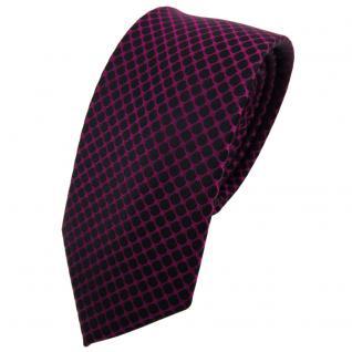 Schmale TigerTie Seidenkrawatte magenta fuchsia schwarz gemustert - Krawatte Tie