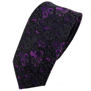 Schmale TigerTie Krawatte lila magenta schwarz grau gemustert Paisley - Binder