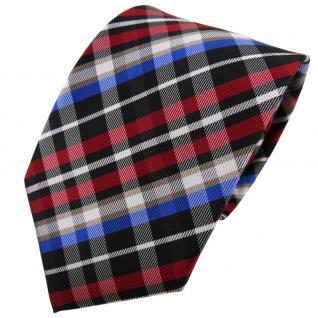 TigerTie Krawatte rot blau beige schwarz silber kariert - Binder Tie