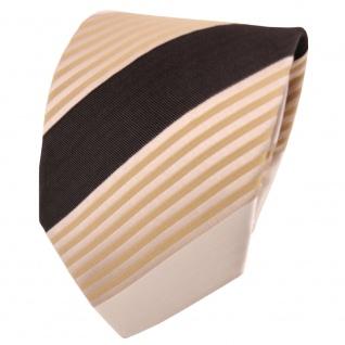 schöne TigerTie Designer Krawatte beige gold dunkelbraun gestreift - Binder Tie