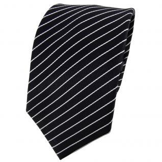 Enrico Sarto Seidenkrawatte schwarz weiß gestreift - Krawatte Seide Tie - Vorschau 1