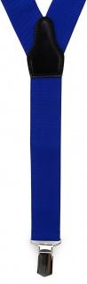 TigerTie Unisex Hosenträger mit 3 extra starken Clips - blau royal Uni - Vorschau 2