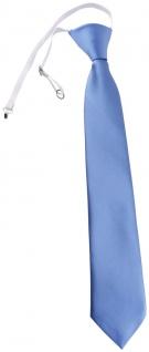 TigerTie Kinderkrawatte blau hellblau Uni - Krawatte vorgebunden mit Gummizug