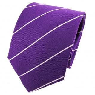 TigerTie Designer Seidenkrawatte violett silber gestreift - Krawatte 100% Seide