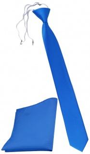 XXL TigerTie Sicherheits Krawatte + Einstecktuch blau himmelblau einfarbig Rips
