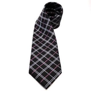 Mexx Designer Seidenkrawatte schwarz silber grau lila kariert - Krawatte Seide