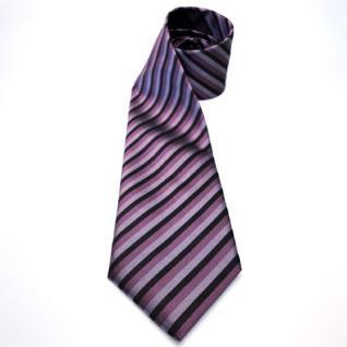 Mexx Designer Seidenkrawatte lila schwarz gestreift - Krawatte Seide Silk