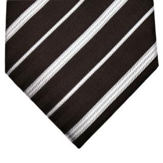 Mexx Seidenkrawatte braun dunkelbraun silber gestreift - Krawatte Seide Binder - Vorschau 2
