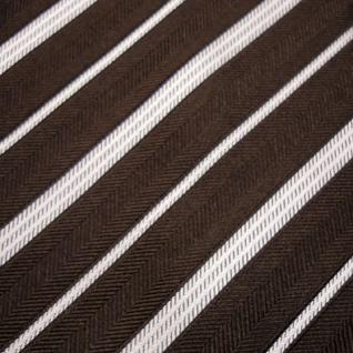 Mexx Seidenkrawatte braun dunkelbraun silber gestreift - Krawatte Seide Binder - Vorschau 3