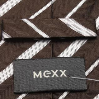Mexx Seidenkrawatte braun dunkelbraun silber gestreift - Krawatte Seide Binder - Vorschau 4