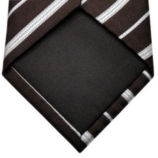 Mexx Seidenkrawatte braun dunkelbraun silber gestreift - Krawatte Seide Binder - Vorschau 5