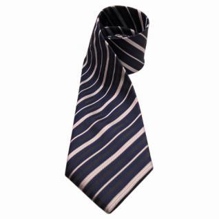 Mexx Designer Seidenkrawatte blau anthrazit silber gestreift - Krawatte Seide