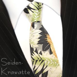 MEXX Krawatte Grün Braun mit Blättermotiv, Seide